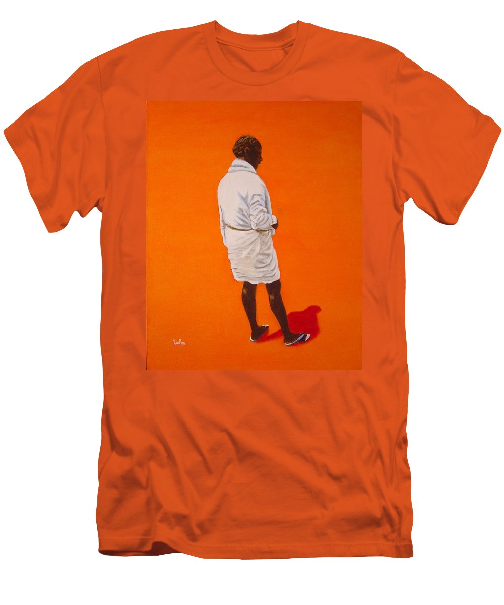 Lungi Men's T-Shirt (Athletic Fit) featuring the painting Panche by Usha Shantharam