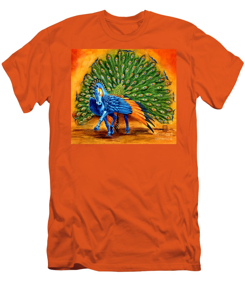 Horse Men's T-Shirt (Athletic Fit) featuring the painting Peacock Pegasus by Melissa A Benson