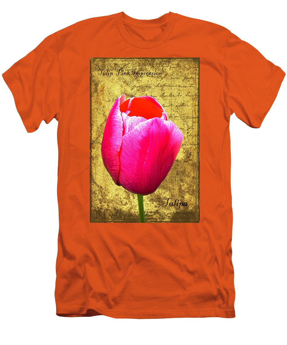 Pink Men's T-Shirt (Athletic Fit) featuring the digital art Pink Impression Tulip by Teresa Mucha