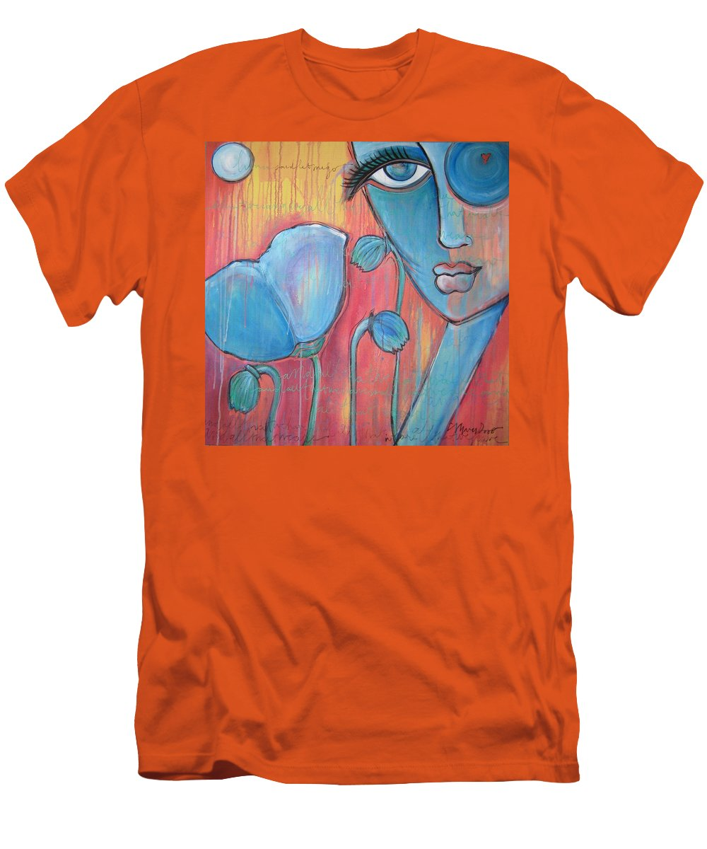 Pop Art Men's T-Shirt (Athletic Fit) featuring the painting Poppies 7 Luna Let Me Go by Laurie Maves ART
