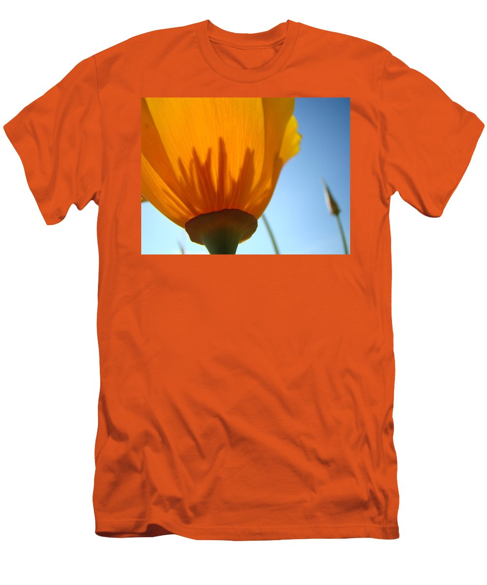 �poppies Artwork� Men's T-Shirt (Athletic Fit) featuring the photograph Poppies Sunlit Poppy Flower 1 Wildflower Art Prints by Baslee Troutman