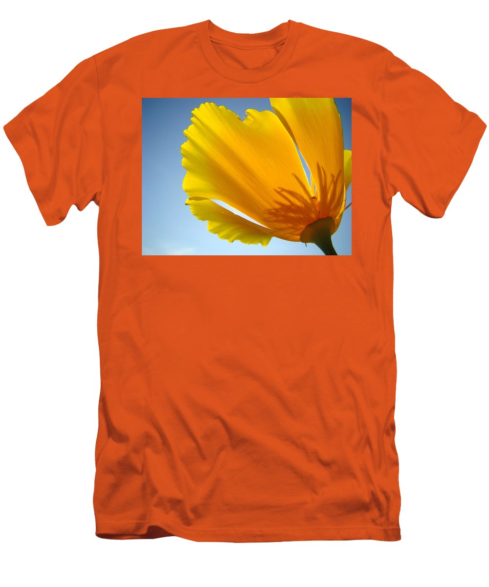 �poppies Artwork� Men's T-Shirt (Athletic Fit) featuring the photograph Poppy Flower Art Print Poppies 13 Botanical Floral Art Blue Sky by Baslee Troutman
