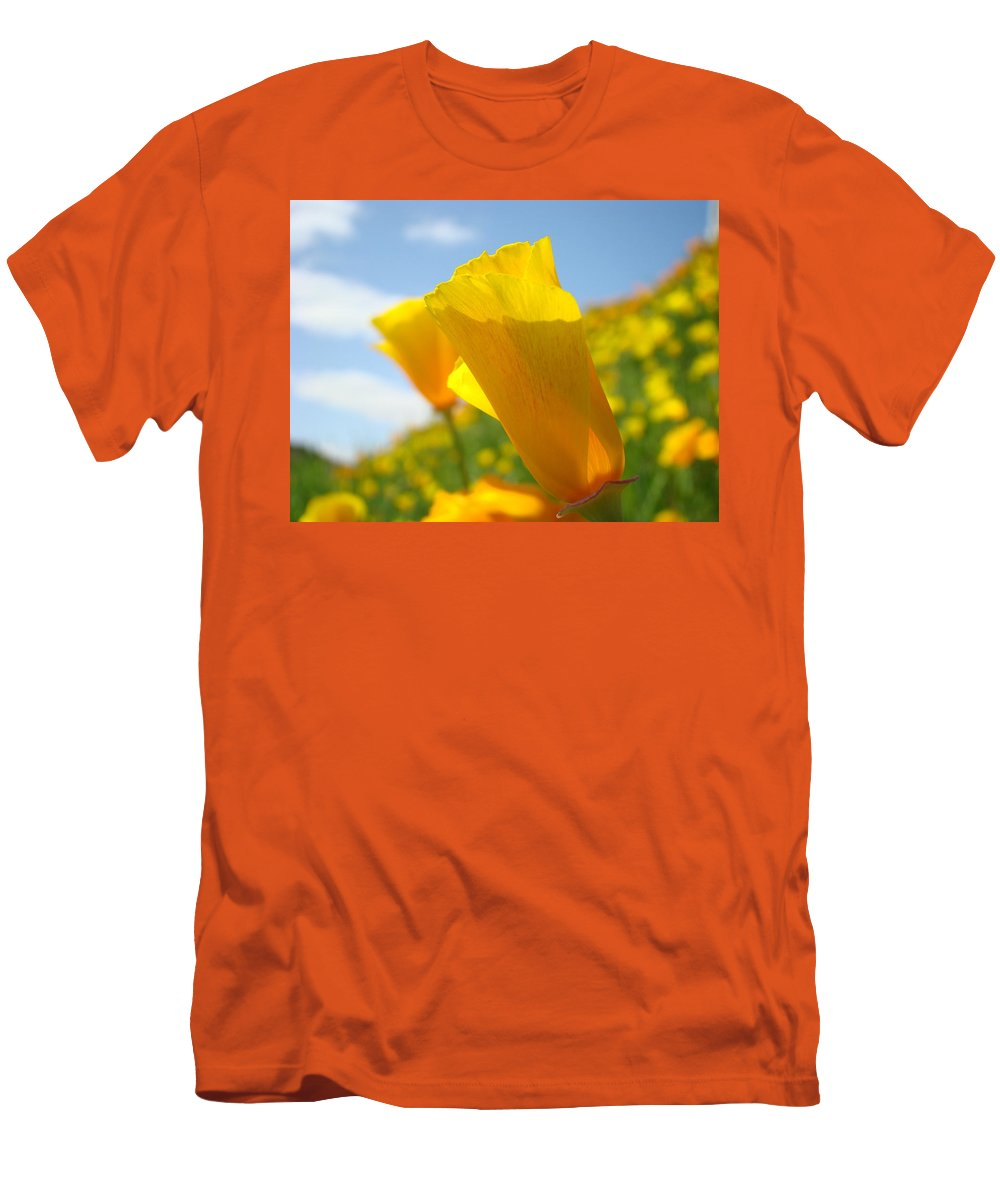 �poppies Artwork� Men's T-Shirt (Athletic Fit) featuring the photograph Poppy Flowers Meadow 3 Sunny Day Art Blue Sky Landscape by Baslee Troutman