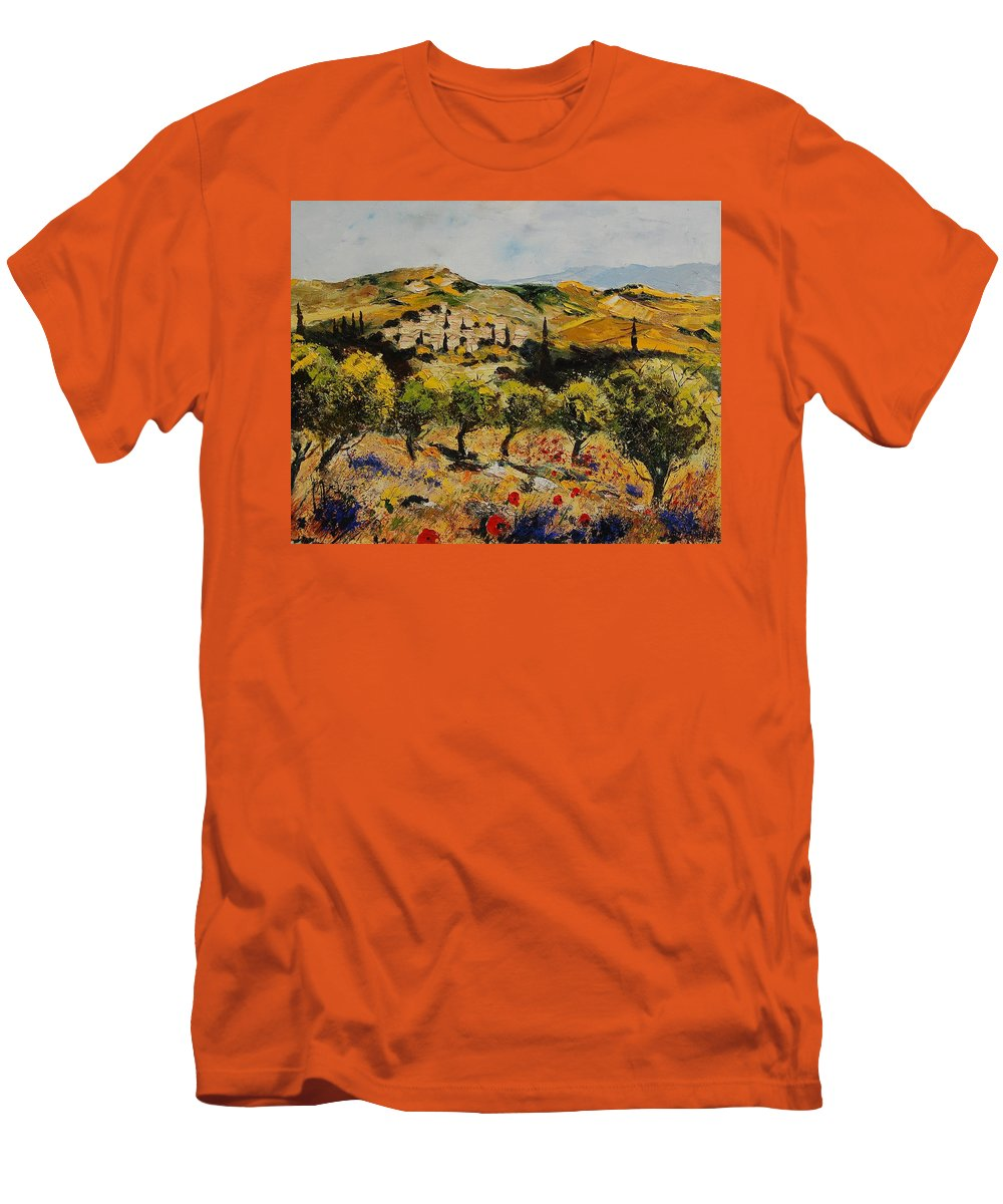Provence Men's T-Shirt (Athletic Fit) featuring the painting Provence 10080 by Pol Ledent