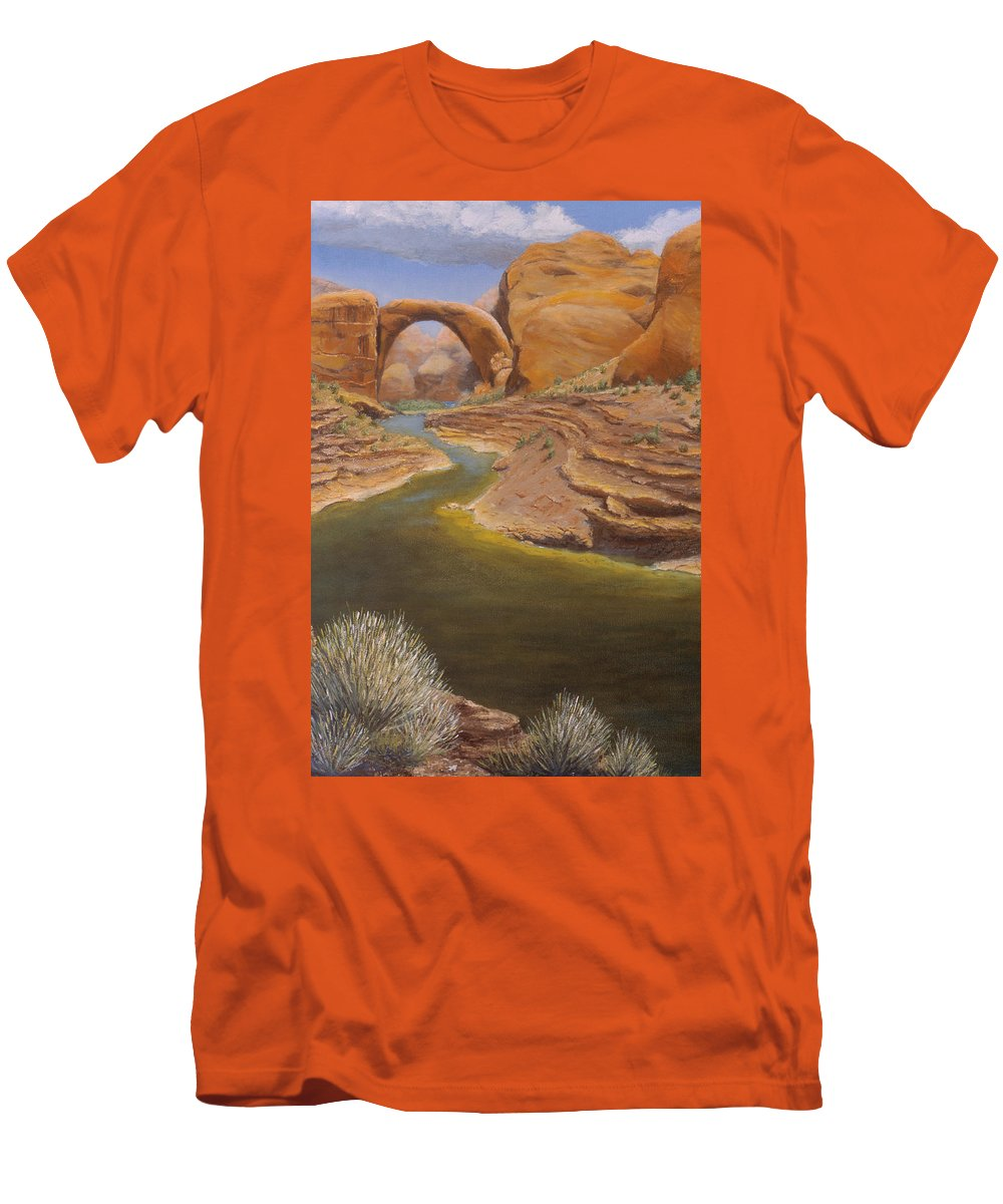 Rainbow Bridge Men's T-Shirt (Athletic Fit) featuring the painting Rainbow Bridge by Jerry McElroy