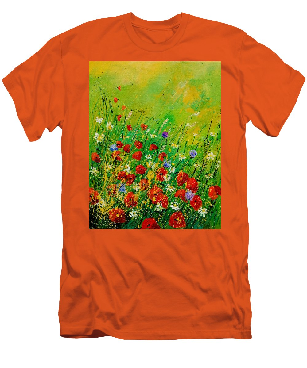 Flowers Men's T-Shirt (Athletic Fit) featuring the painting Red Poppies 450708 by Pol Ledent