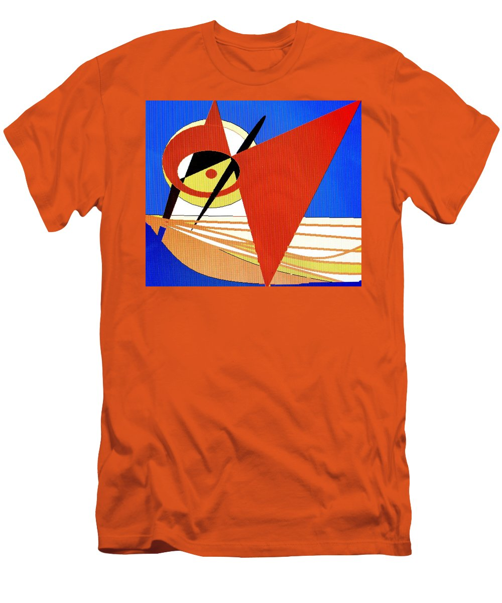 Boat Men's T-Shirt (Athletic Fit) featuring the digital art Red Sails In The Sunset by Ian MacDonald