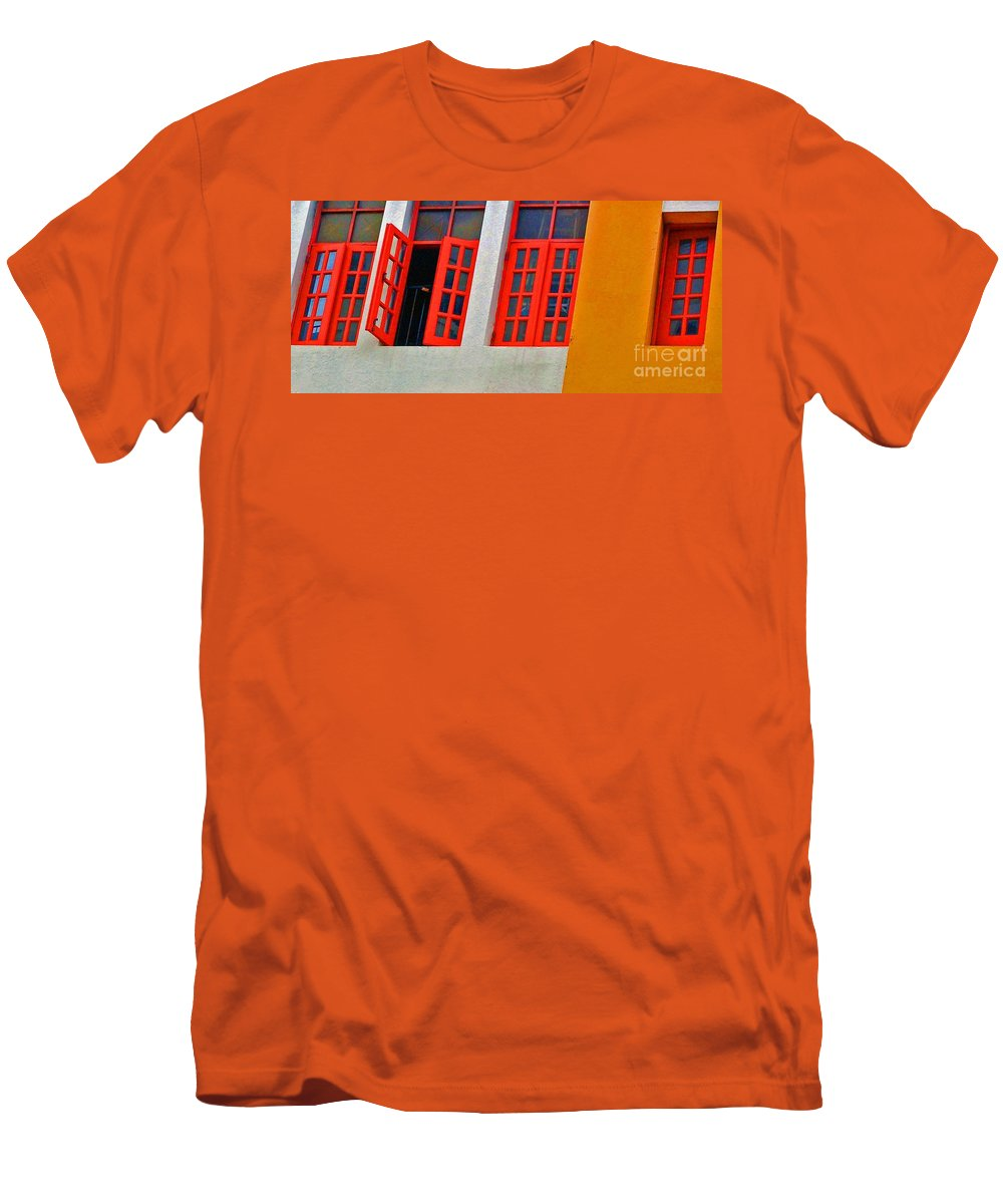 Windows Men's T-Shirt (Athletic Fit) featuring the photograph Red Windows by Debbi Granruth