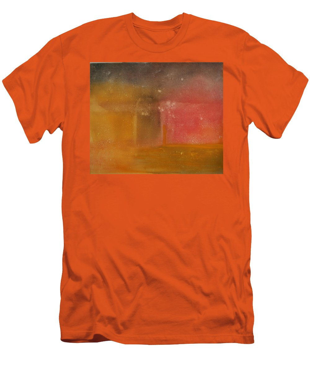 Storm Summer Red Yellow Gold Men's T-Shirt (Athletic Fit) featuring the painting Reflection Summer Storm by Jack Diamond