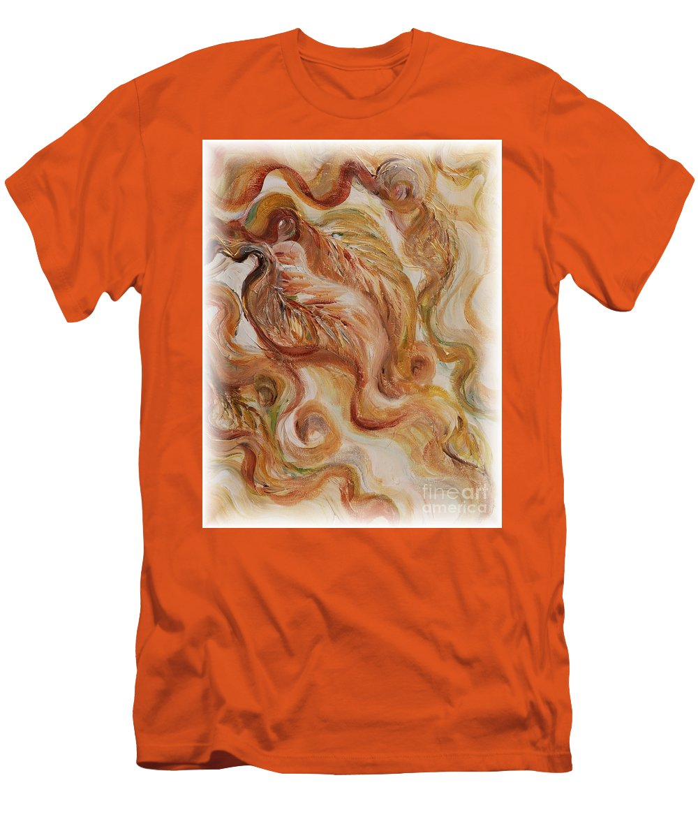 Leaves Men's T-Shirt (Athletic Fit) featuring the painting Reflective Leaves by Nadine Rippelmeyer