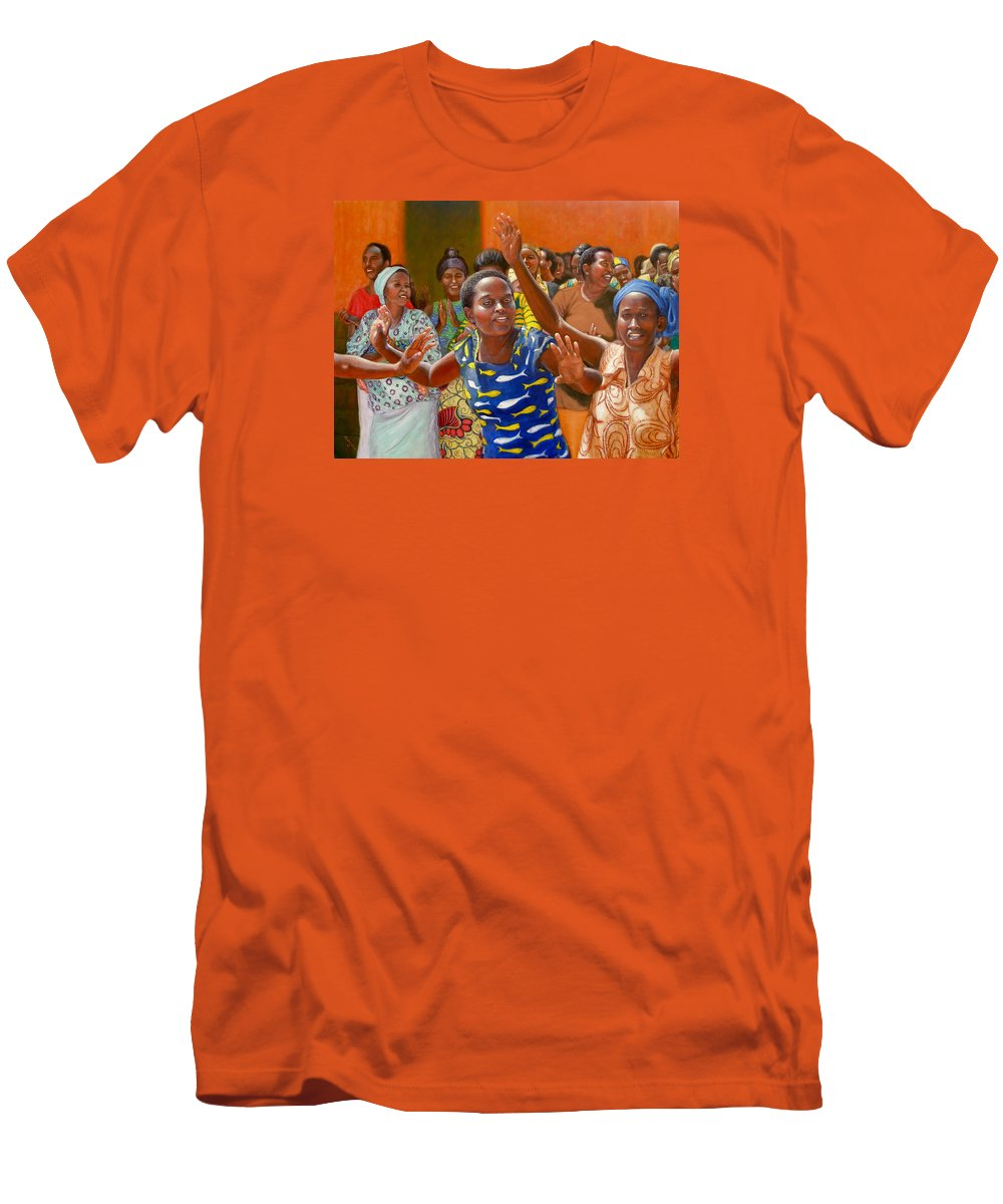 Realism Men's T-Shirt (Athletic Fit) featuring the painting Rejoice by Donelli DiMaria