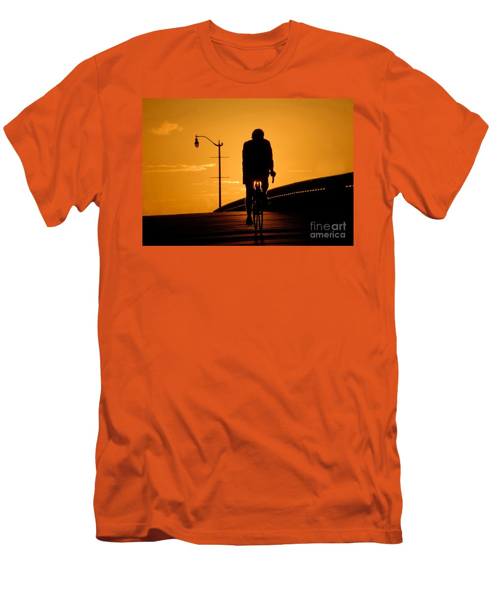 Bicycle Men's T-Shirt (Athletic Fit) featuring the photograph Riding At Sunset by David Lee Thompson