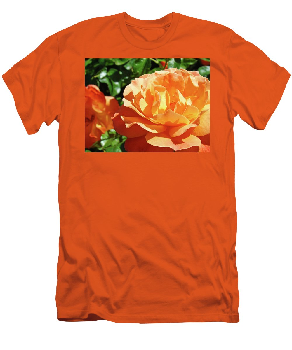 Rose Men's T-Shirt (Athletic Fit) featuring the photograph Roses Art Prints Orange Rose Flower 11 Giclee Prints Baslee Troutman by Baslee Troutman