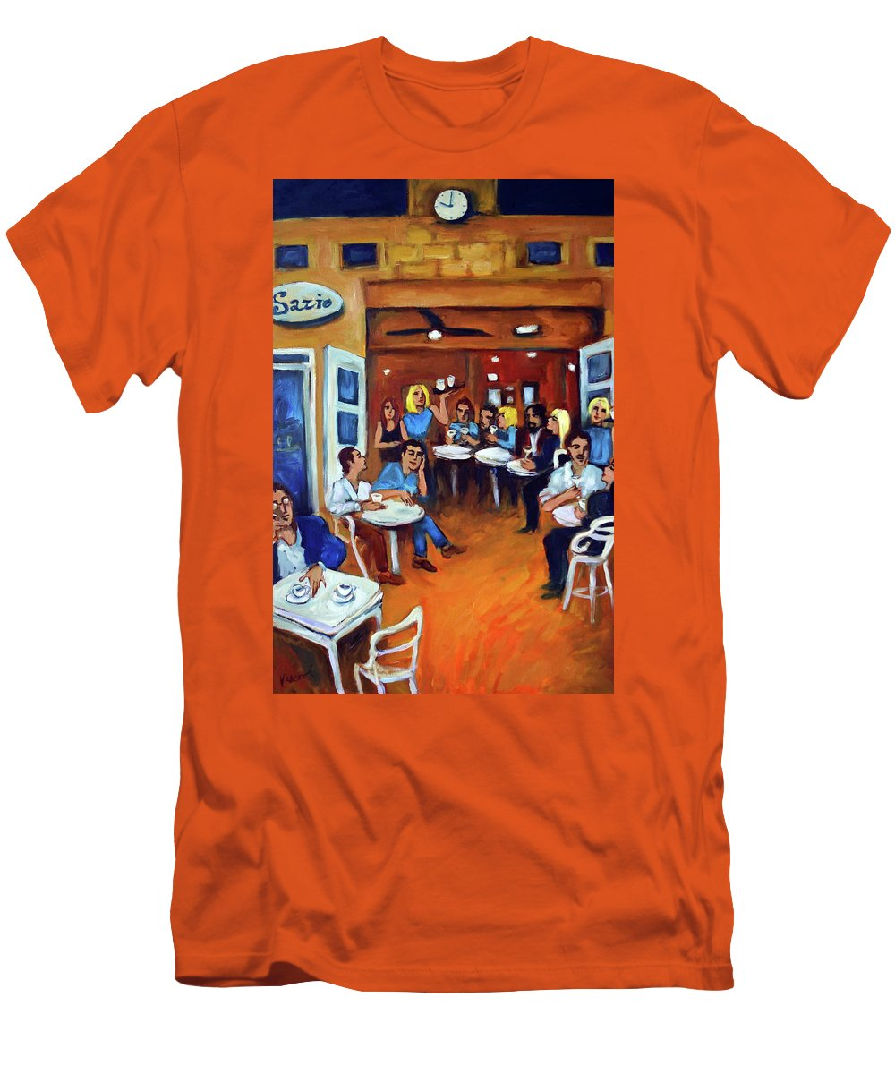 Sidewalk Cafe Men's T-Shirt (Athletic Fit) featuring the painting Sazio by Valerie Vescovi