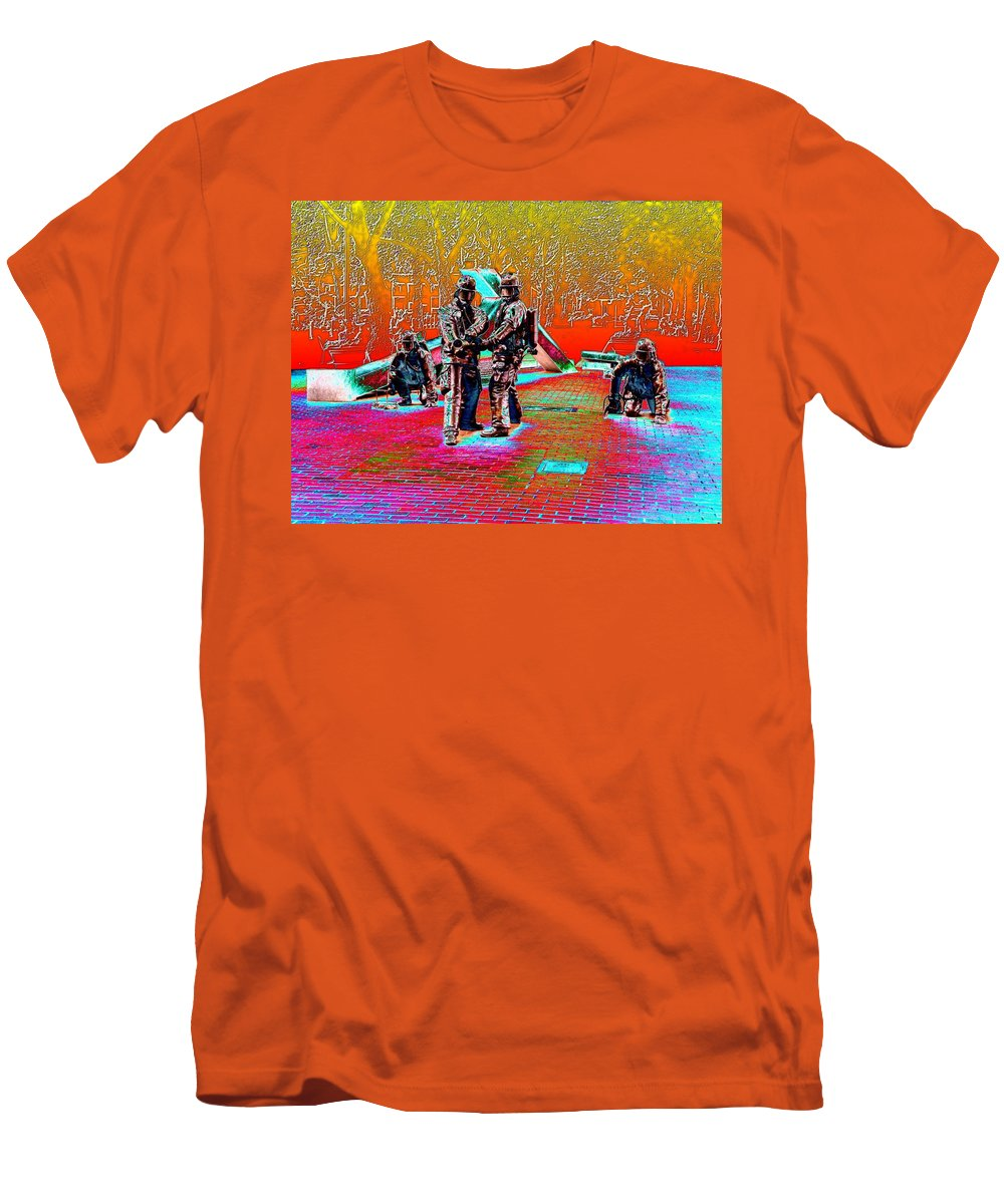 Seattle Men's T-Shirt (Athletic Fit) featuring the digital art Seattle Fire Fighter Memorial by Tim Allen