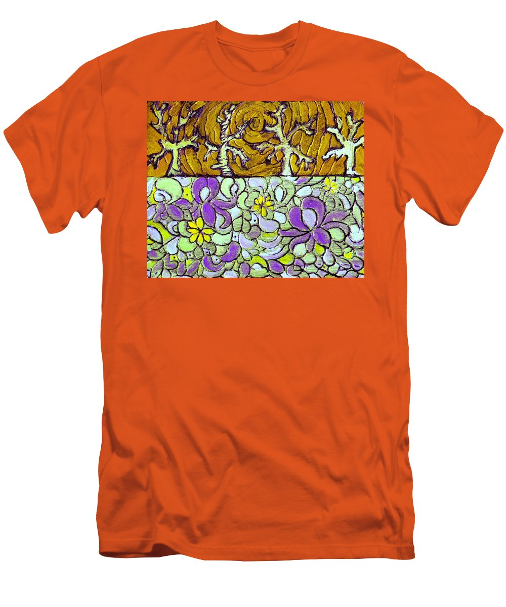 Meadow Men's T-Shirt (Athletic Fit) featuring the painting Seduced By The Meadow by Wayne Potrafka