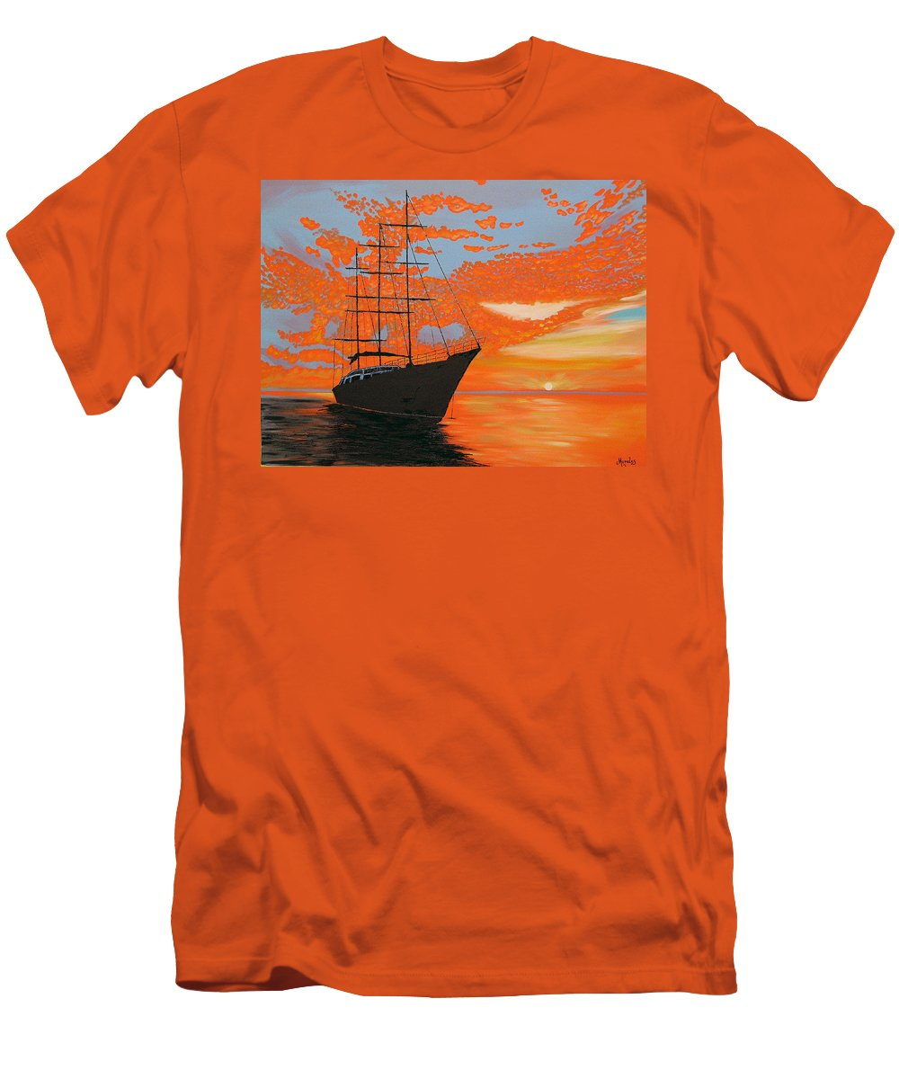 Seascape Men's T-Shirt (Athletic Fit) featuring the painting Sittin' On The Bay by Marco Morales