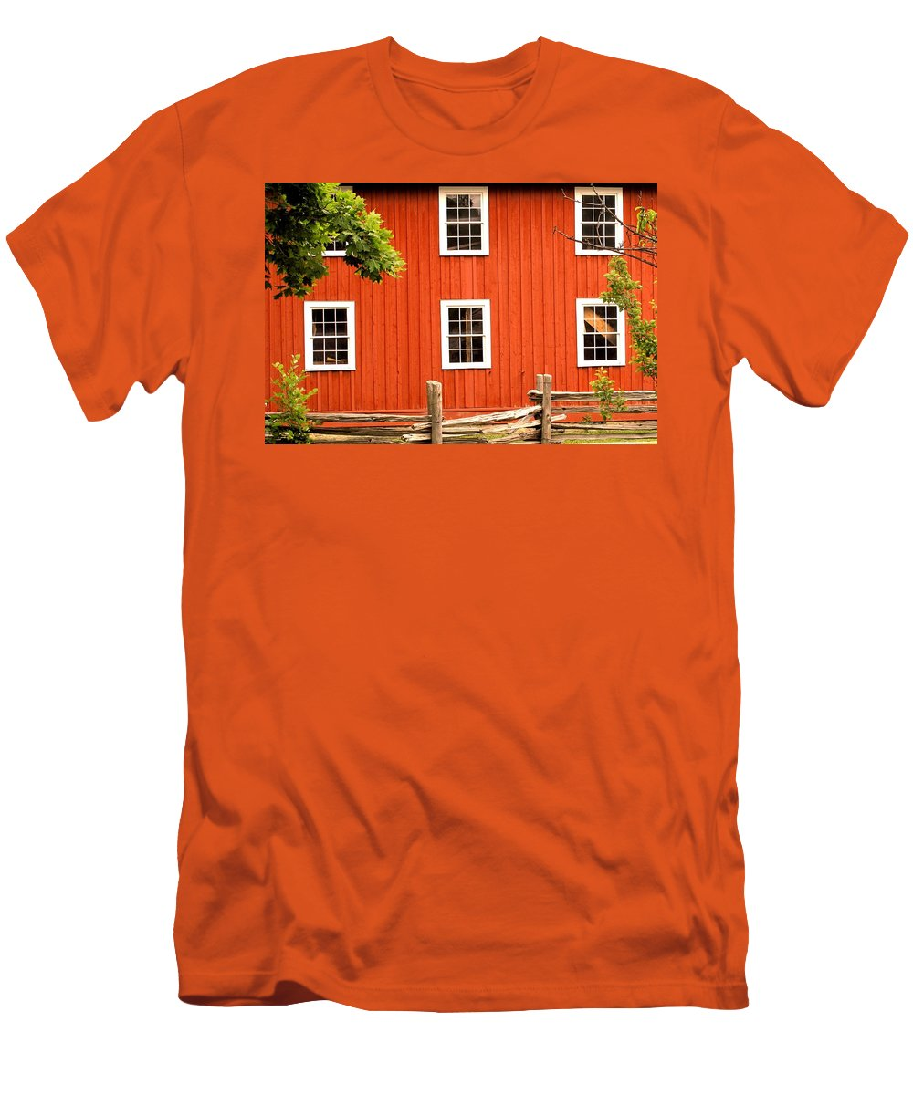 Red Wall Men's T-Shirt (Athletic Fit) featuring the photograph Six Windows by Ian MacDonald