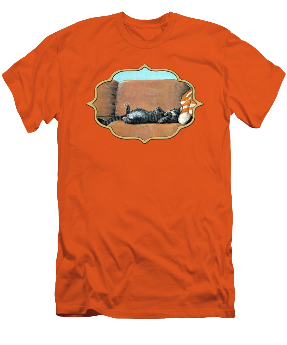 Calm Men's T-Shirt (Athletic Fit) featuring the painting Sleeping Cat by Anastasiya Malakhova