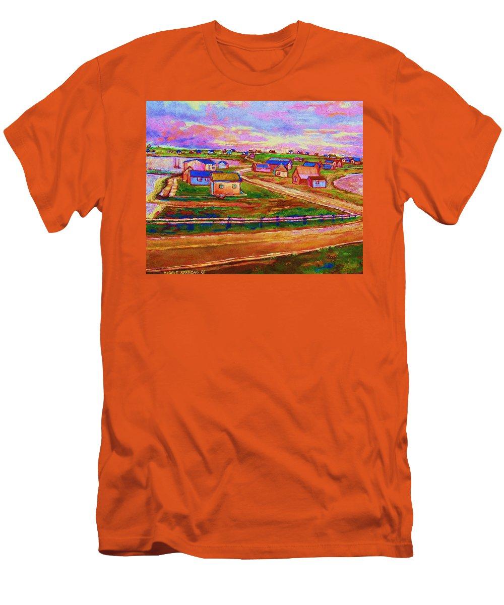 Sunrise Men's T-Shirt (Athletic Fit) featuring the painting Sleepy Little Village by Carole Spandau