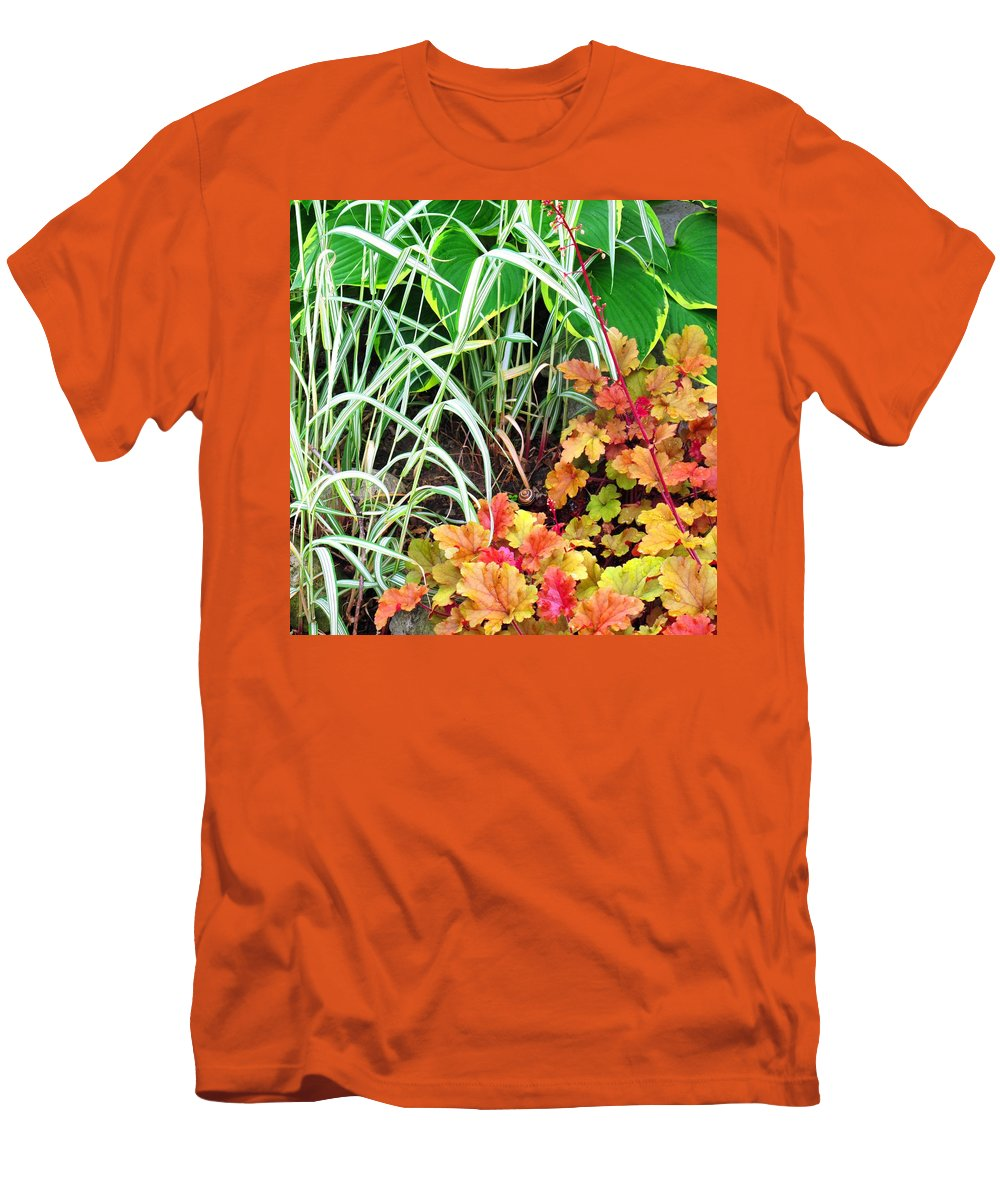 Garden Men's T-Shirt (Athletic Fit) featuring the photograph Snail In A Rich Composition by Ian MacDonald