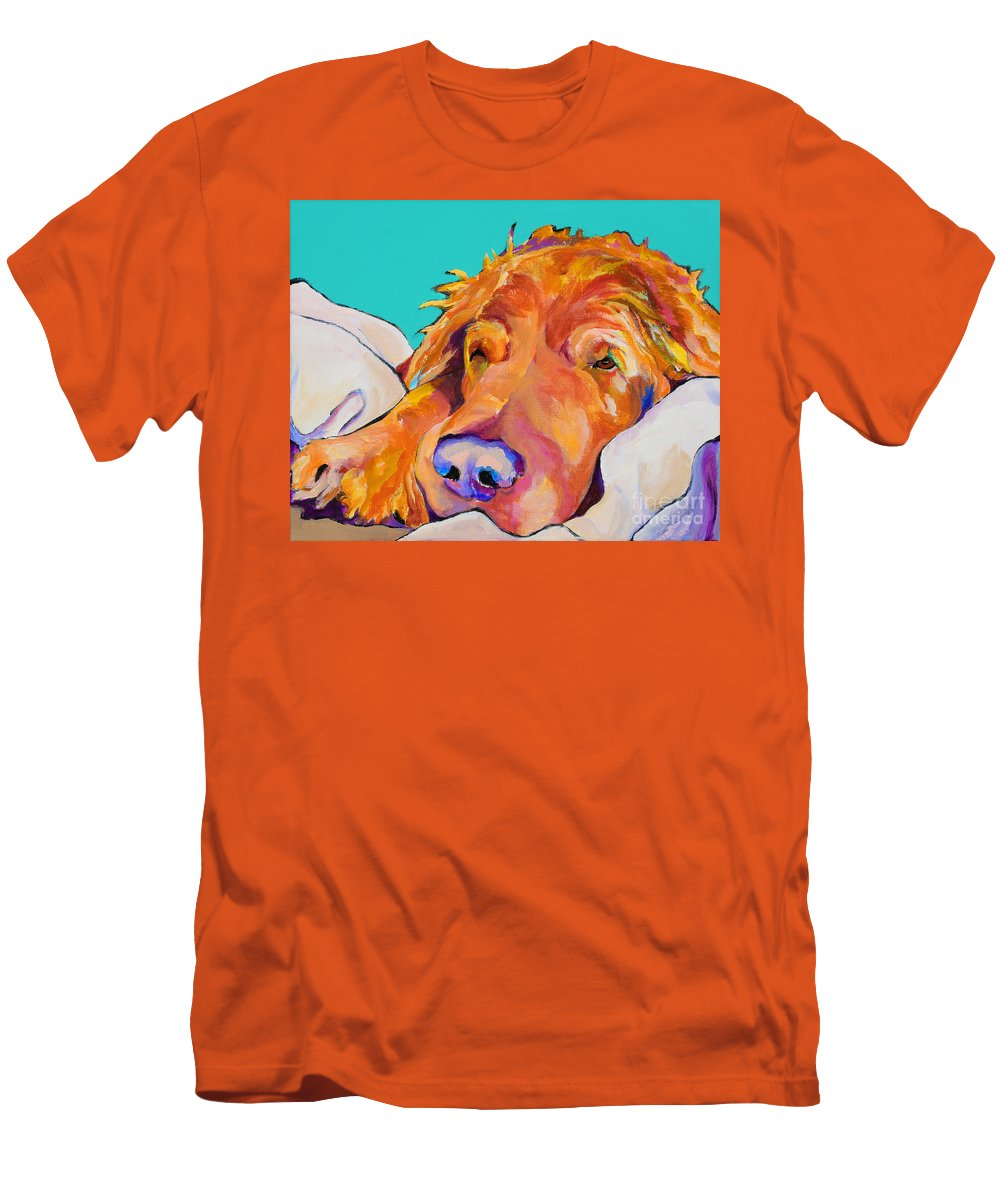 Dog Poortraits Men's T-Shirt (Athletic Fit) featuring the painting Snoozer King by Pat Saunders-White