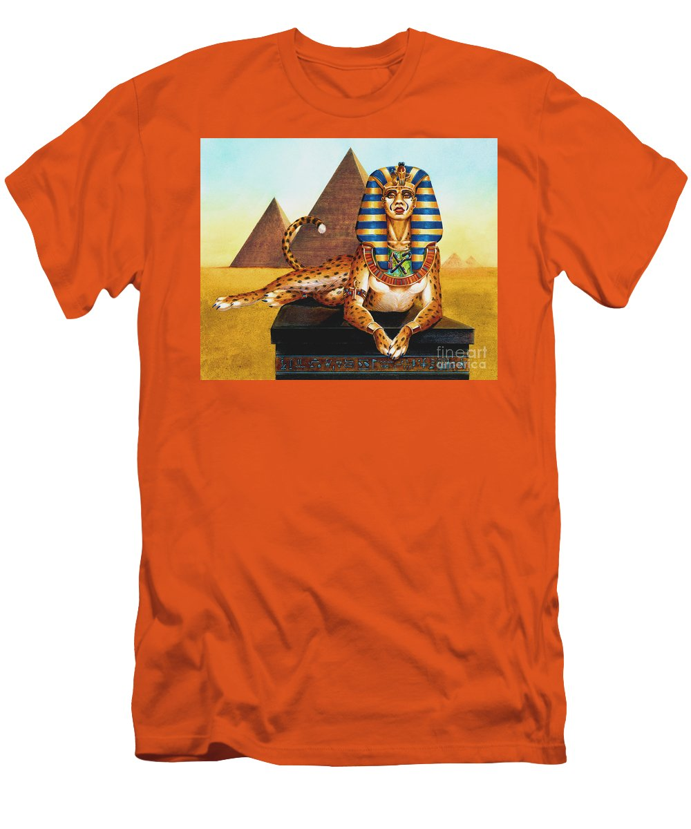 Cat Men's T-Shirt (Athletic Fit) featuring the painting Sphinx On Plinth by Melissa A Benson