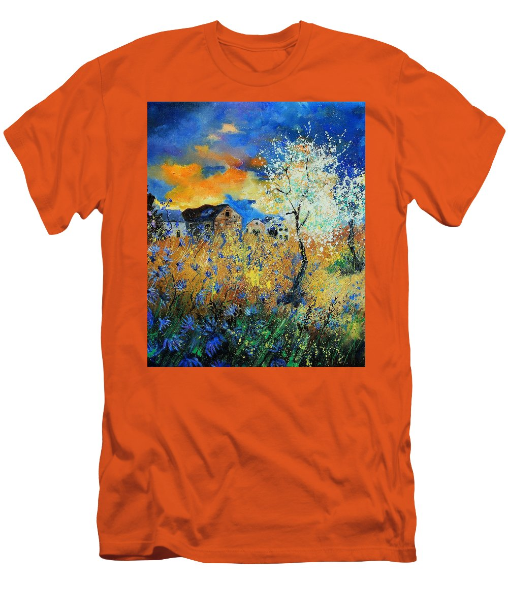 Flowers Men's T-Shirt (Athletic Fit) featuring the painting Spring 67 by Pol Ledent