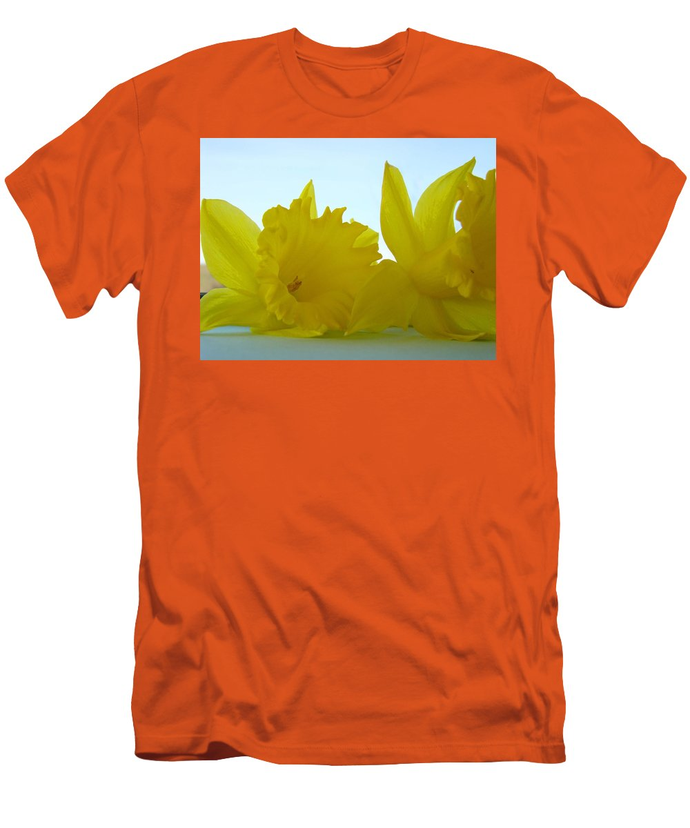 �daffodils Artwork� Men's T-Shirt (Athletic Fit) featuring the photograph Spring Daffodils Flowers Art Prints Blue Skies by Baslee Troutman