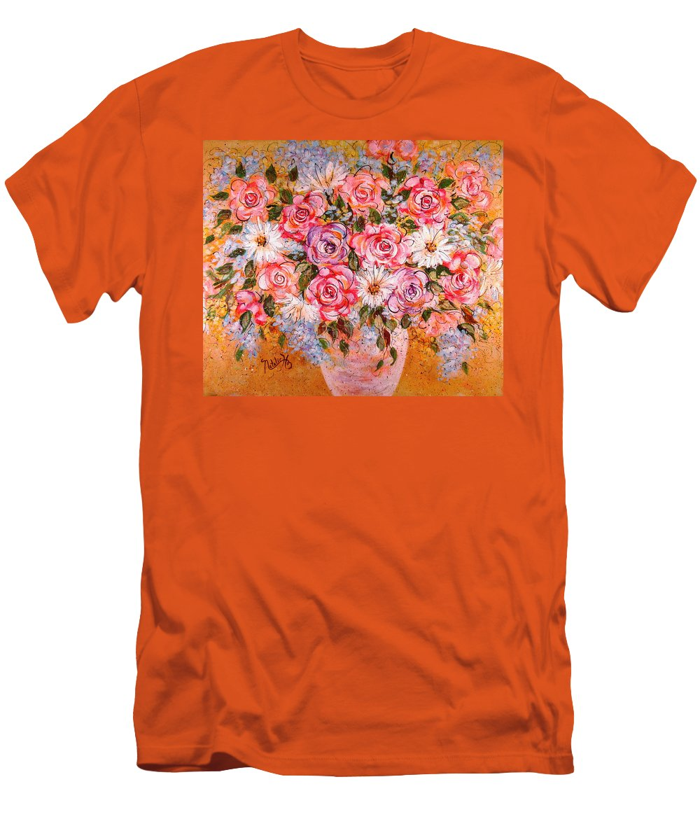 Flowers Men's T-Shirt (Athletic Fit) featuring the painting Summer Bouquet by Natalie Holland