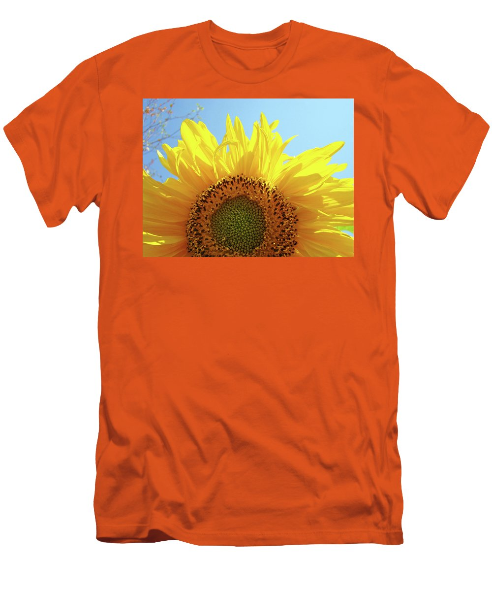 Sunflower Men's T-Shirt (Athletic Fit) featuring the photograph Sunflower Sunlit Sun Flowers Giclee Art Prints Baslee Troutman by Baslee Troutman