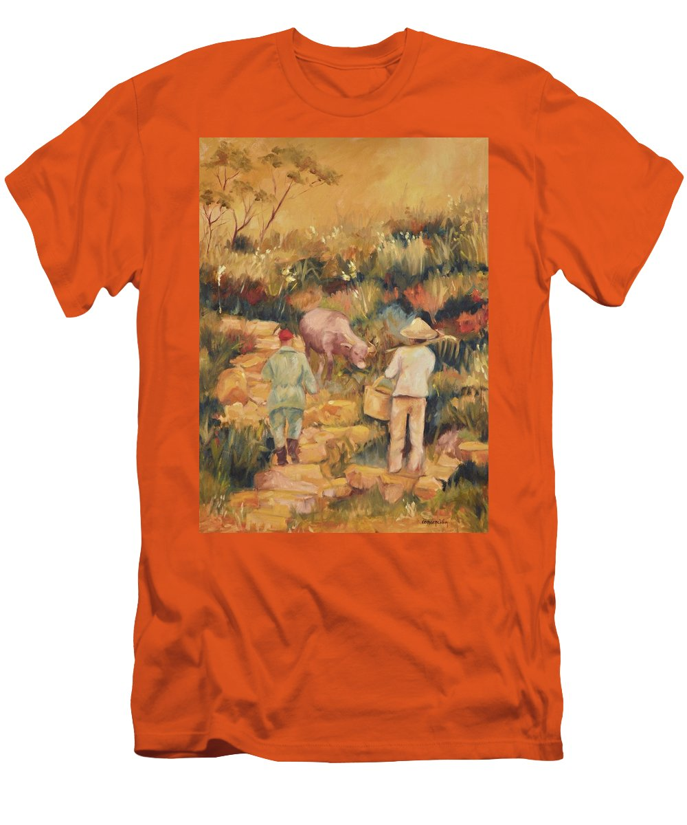 Water Buffalo Men's T-Shirt (Athletic Fit) featuring the painting Taipei Buffalo Herder by Ginger Concepcion