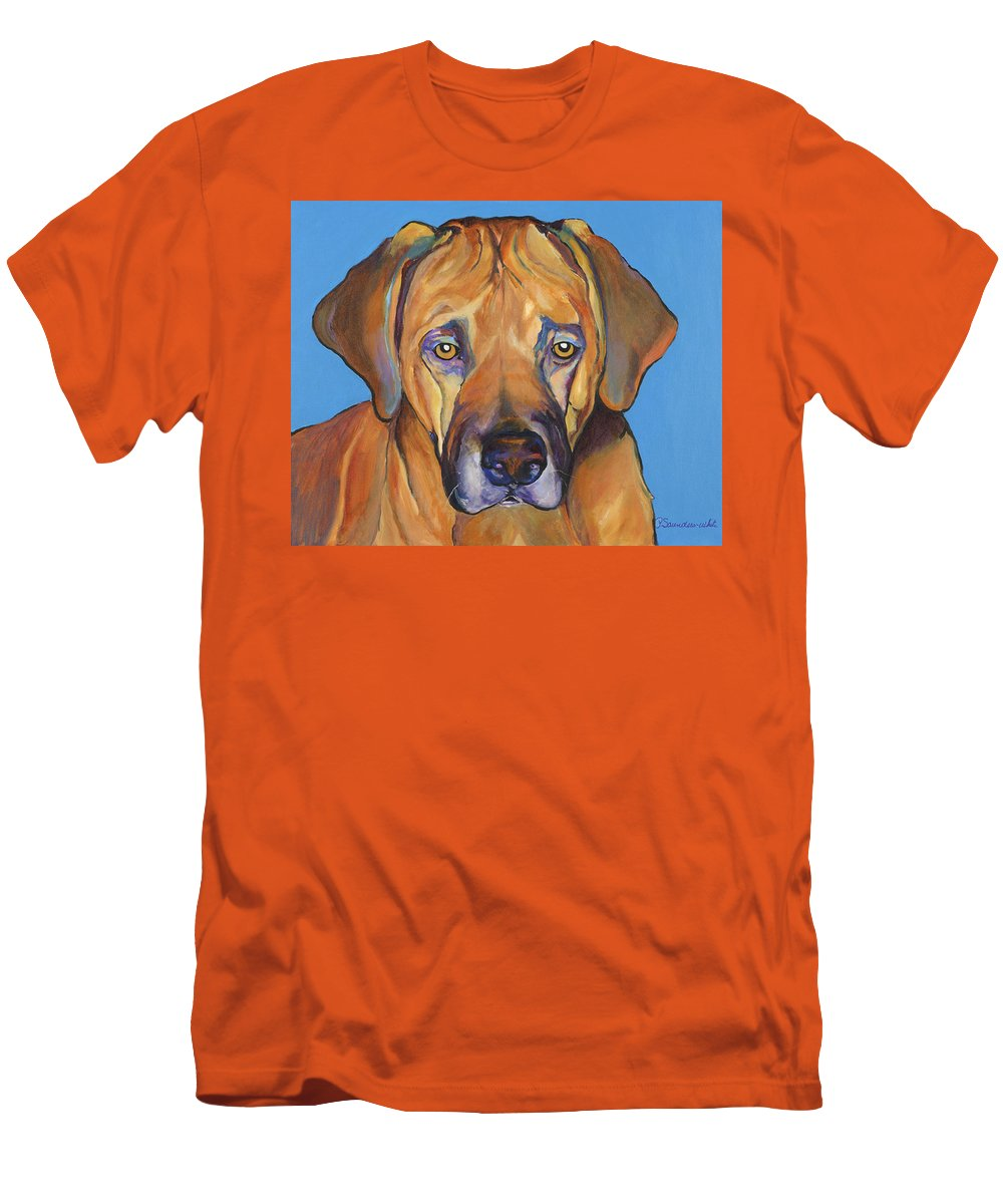 Rhodesian Ridgeback Dog Ridgeback African Colorful Orange Gold Yellow Red Men's T-Shirt (Athletic Fit) featuring the painting Talen by Pat Saunders-White