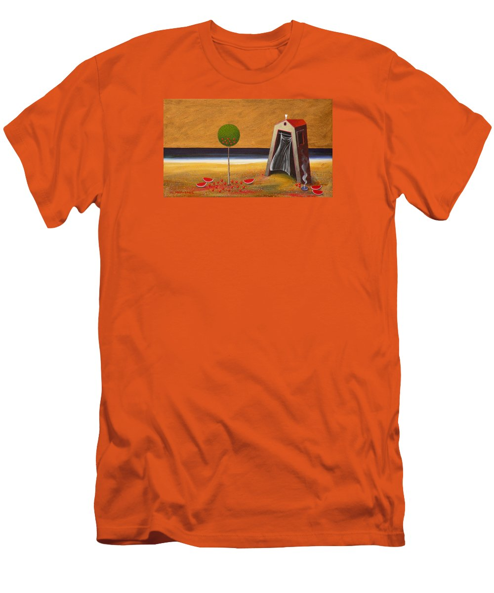 Astronomy Men's T-Shirt (Athletic Fit) featuring the painting the Buff House by Dimitris Milionis