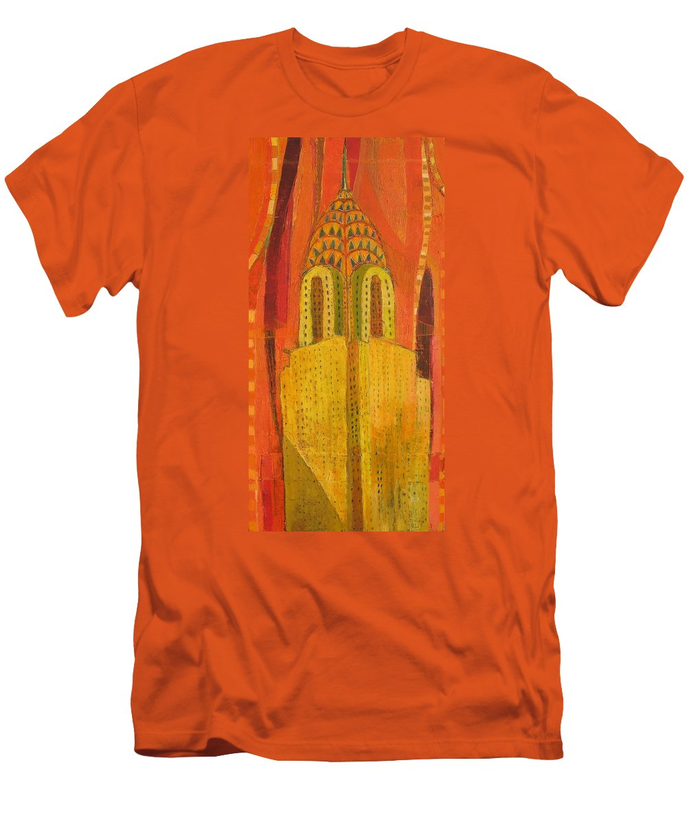 Abstract Cityscape Men's T-Shirt (Athletic Fit) featuring the painting The Chrysler In Red by Habib Ayat