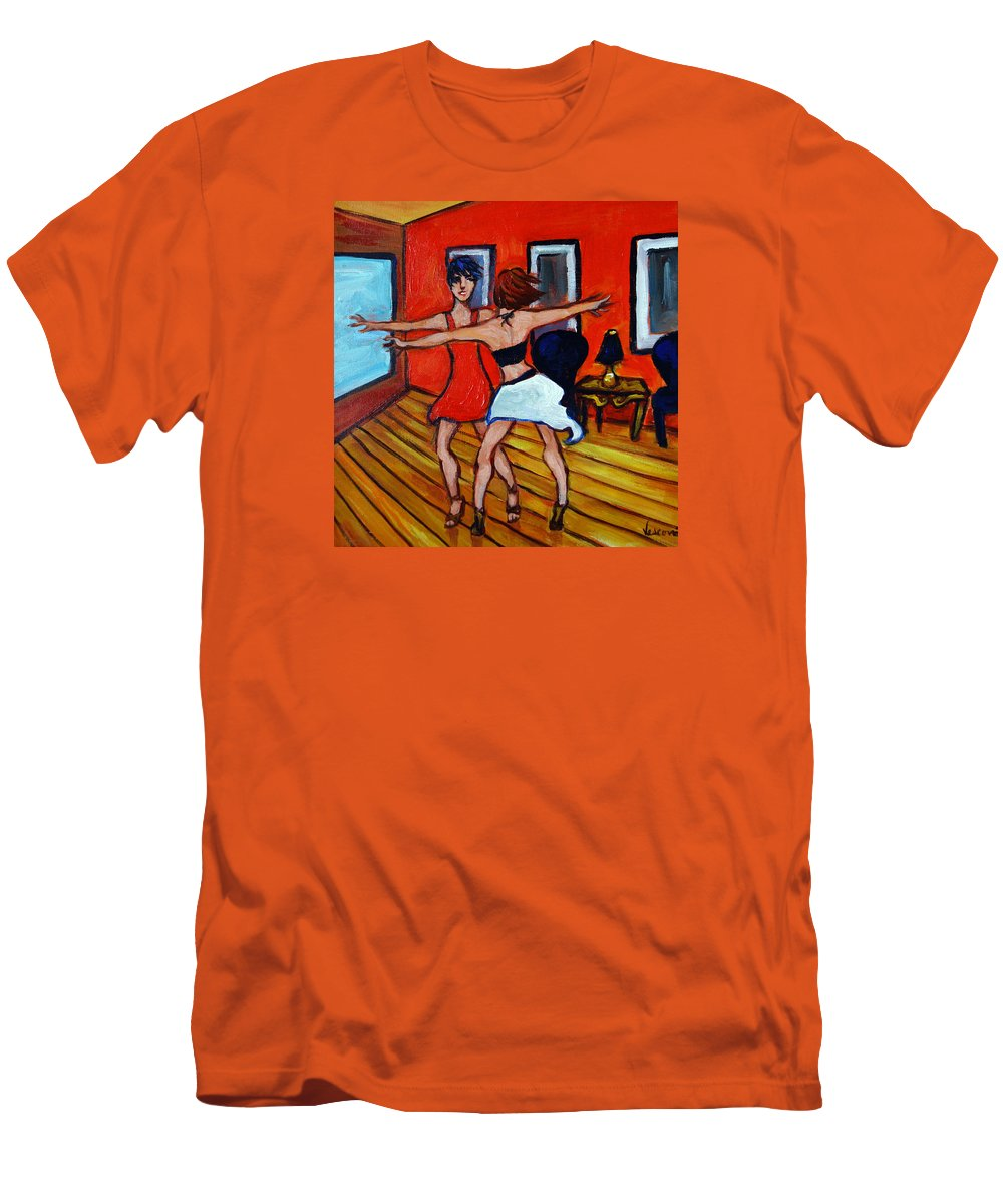 Dancers Men's T-Shirt (Athletic Fit) featuring the painting The Dancers by Valerie Vescovi
