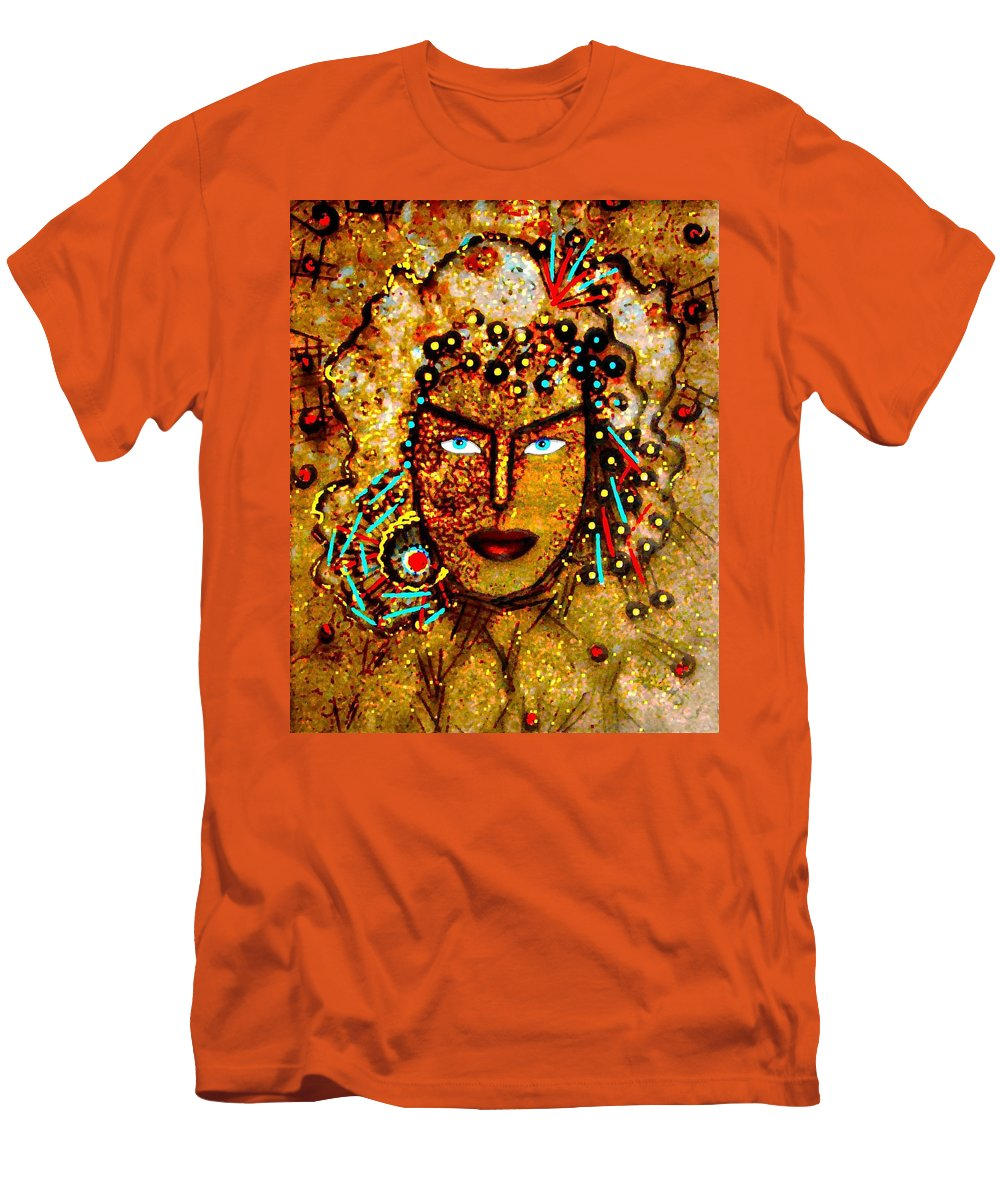 Goddess Men's T-Shirt (Athletic Fit) featuring the painting The Golden Goddess by Natalie Holland