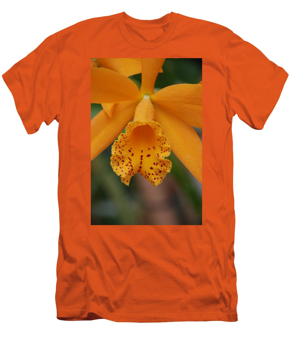 Yellow Men's T-Shirt (Athletic Fit) featuring the photograph The Orange Orchid by Rob Hans