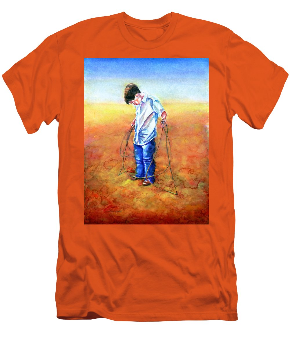 Child Men's T-Shirt (Athletic Fit) featuring the painting The Roping Lesson by Shannon Grissom