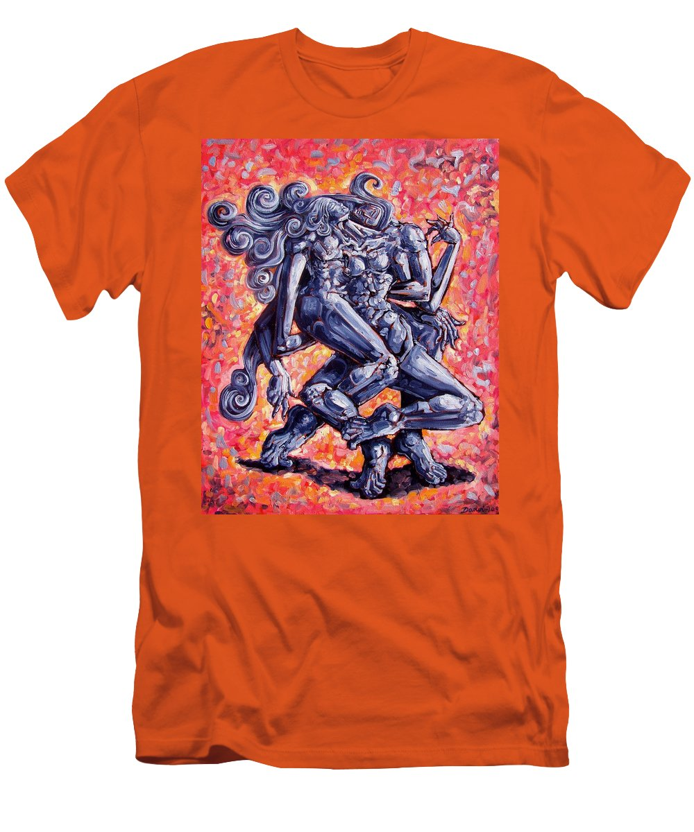 Surrealism Men's T-Shirt (Athletic Fit) featuring the painting The Strangers by Darwin Leon