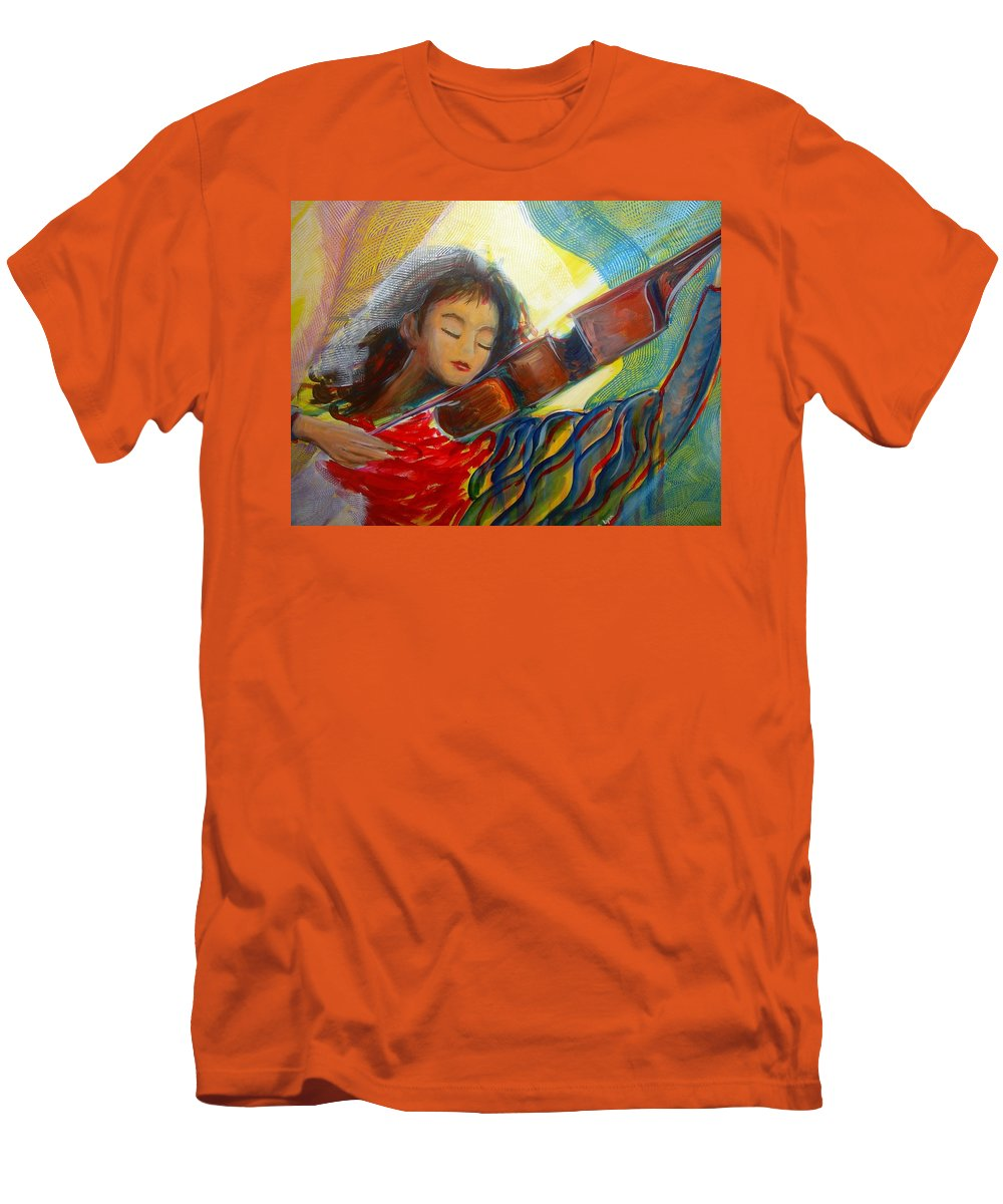 Violin Men's T-Shirt (Athletic Fit) featuring the painting The Sweetest Sounds by Regina Walsh