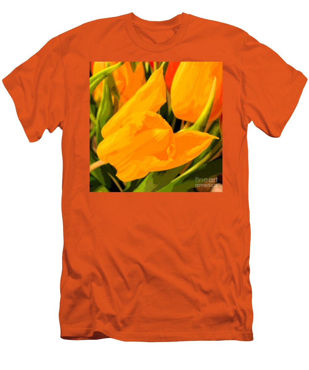 Tulip Men's T-Shirt (Athletic Fit) featuring the photograph Tulips by Amanda Barcon