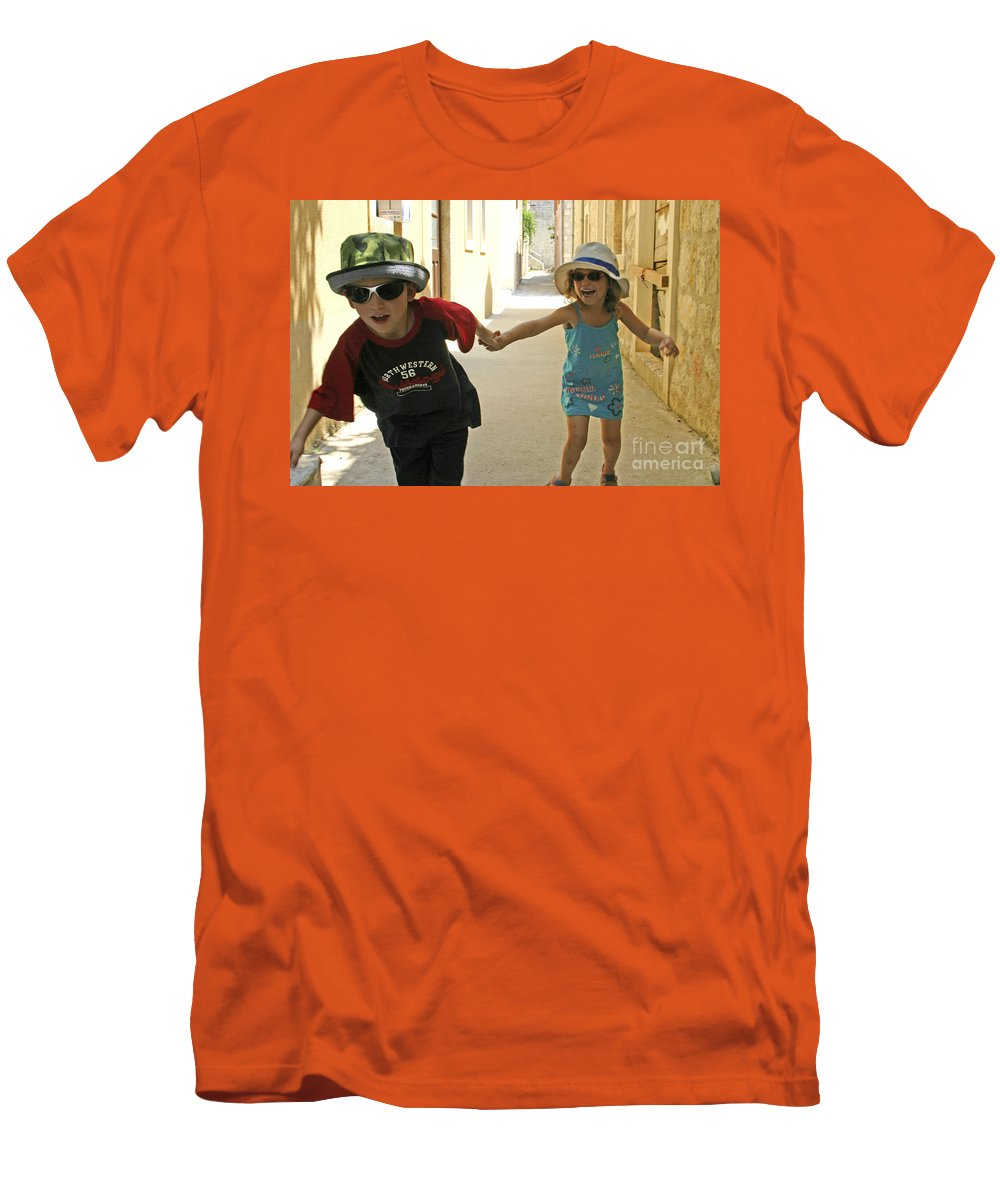 Child Men's T-Shirt (Athletic Fit) featuring the photograph Two Excited Children by Danny Yanai