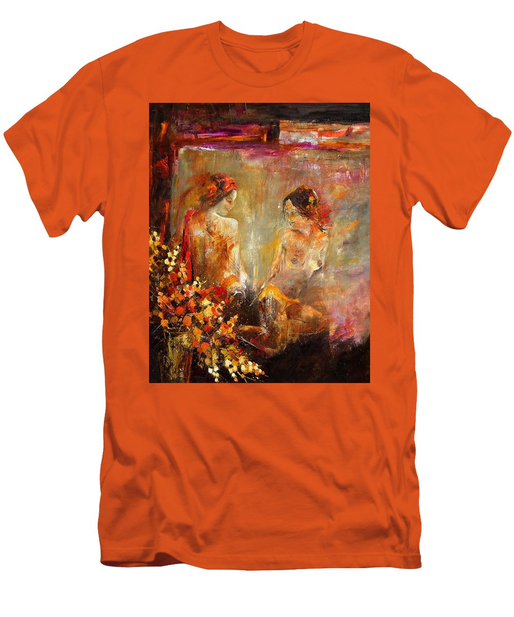 Girl Nude Men's T-Shirt (Athletic Fit) featuring the painting Two Nudes by Pol Ledent