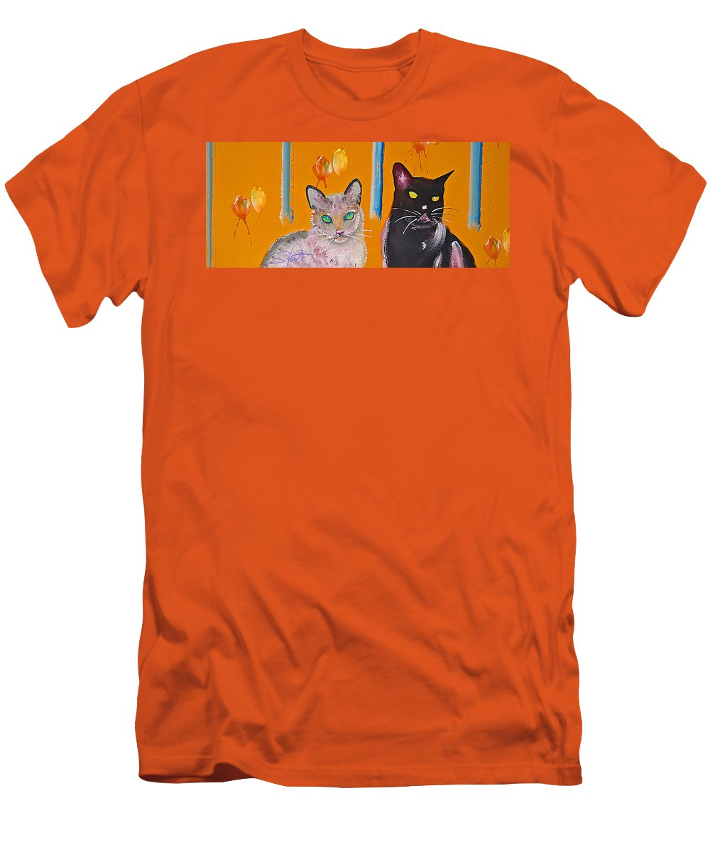 Cat Men's T-Shirt (Athletic Fit) featuring the painting Two Superior Cats With Wild Wallpaper by Charles Stuart