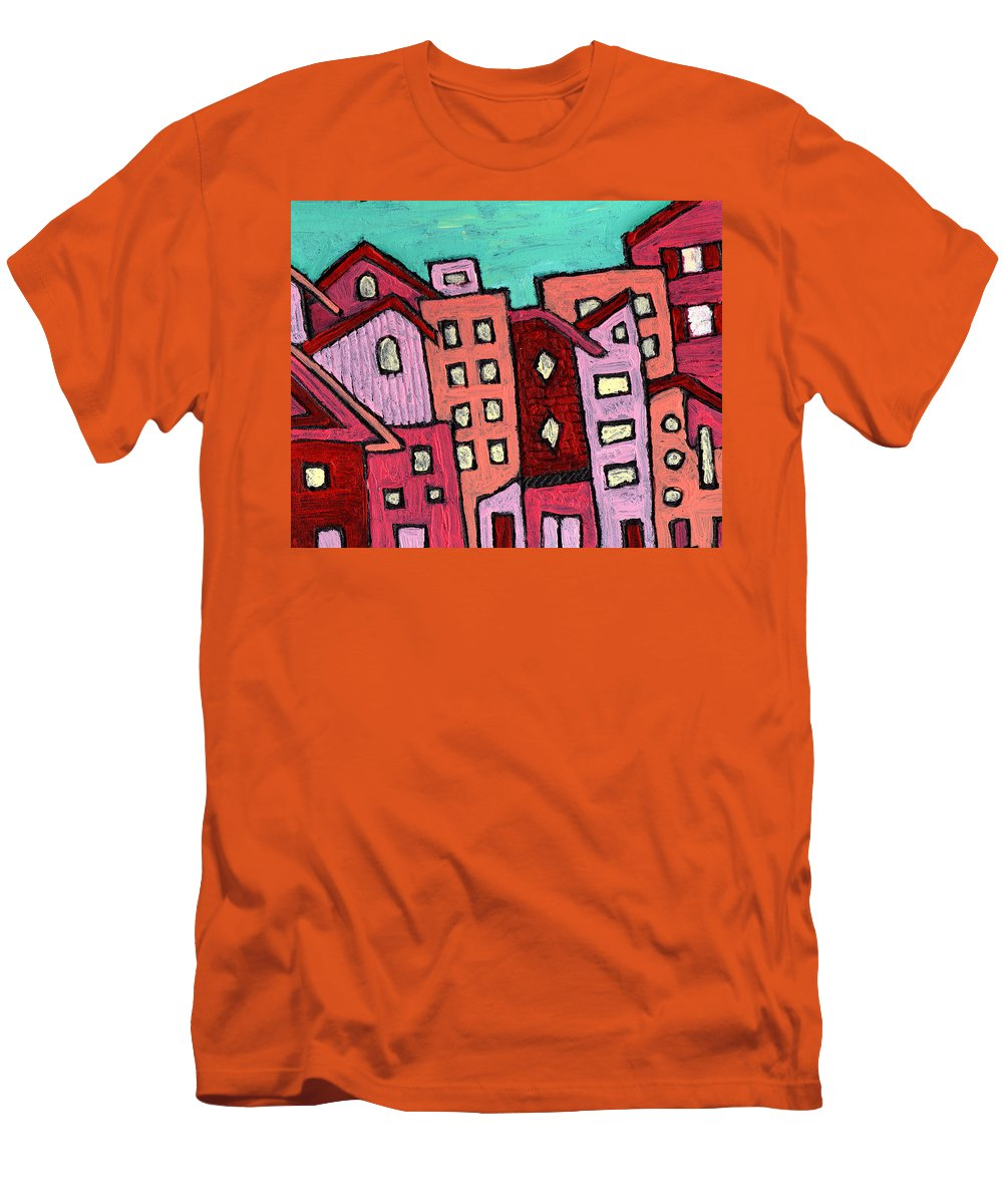 City Scene Men's T-Shirt (Athletic Fit) featuring the painting Urban Heat by Wayne Potrafka