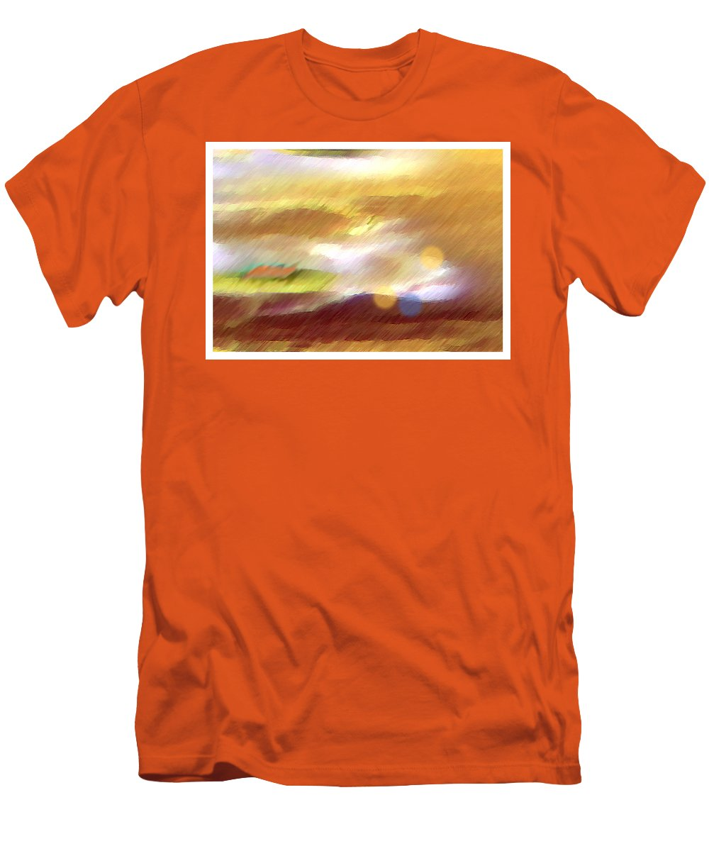 Landscape Men's T-Shirt (Athletic Fit) featuring the painting Valleylights by Anil Nene
