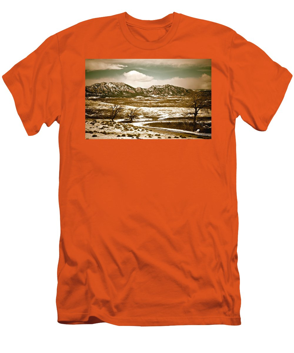 Landscape Men's T-Shirt (Athletic Fit) featuring the photograph Flatironsview From Superior by Marilyn Hunt