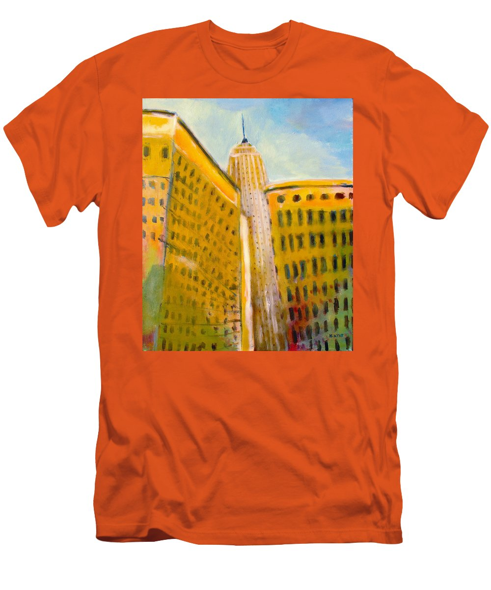 Abstract Cityscape Men's T-Shirt (Athletic Fit) featuring the painting View From The 33 St by Habib Ayat