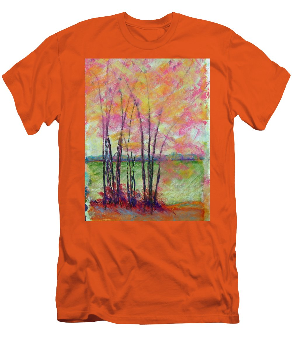 Edison Men's T-Shirt (Athletic Fit) featuring the painting View Through Bamboo by Laurie Paci